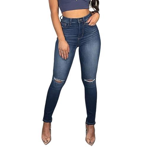 e0541f2dc2f7 TENGFU Women's Juniors Mid-Rise Distressed Slim Fit Stretchy Skinny Jeans  Jegging