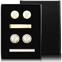 5631ff8a76f7 Thunaraz Cufflinks Tie Bar Clip Set Initials Alphabet Letter Cufflinks for  Business Wedding with Gift Box