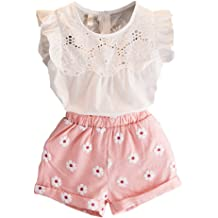 6f1985d1bdb5 2PCS Set Toddler Kids Baby Girls Outfits Clothes T-Shirt Vest Tops+Shorts  Pants