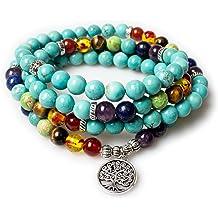 9a2876359 Jewelry,8MM Turquoise Healing 108 Rosary Prayer Mala Beads Tree of Life 7  Chakra Bracelet